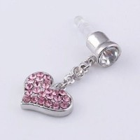3.5mm Pink Crystal Heart Anti Dust Earphone Plug Stopper for Iphone 4 4s Ipad: Cell Phones & Accessories