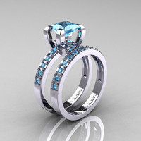Modern French 14K White Gold 1.0 Carat Princess Blue Topaz Engagement Ring, Weding Band Bridal Set AR125S-14KWGBT
