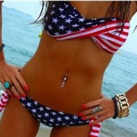 Mermaid Style Stars and Stripes Bikini Swimsuit