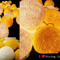 Yellow and White Cotton Ball String Lights For Wedding and House decoration (20 Balls /Set)