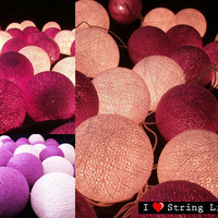 Purple and White Cotton Ball String Lights For Wedding and House decoration (20 Balls /Set)