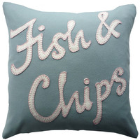 Cashmere 'Fish & Chips' Cushion by lizfosterdesign on Etsy