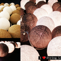 Brown and White Cotton Ball String Lights For Wedding and House decoration (20 Balls /Set)