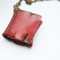 Tattered Book Necklace Red Spell Book by CraftyTeapot on Etsy