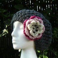 Gray Crochet Beanie Slouchy Hat with Flower