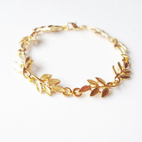 Aphrodite - Grecian Bracelet - Grecian Jewelry Gold Leaf Bracelet Gold Bridal Leaf Bracelet Woodland Bracelet Gold Wedding Bracelet Elegant