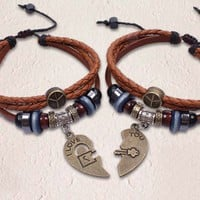 Handmade Couple Bracelets for Valentines- Together Heart