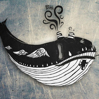 Print Shop - Bad Ass Taxi Whale Roaming the Sky Without Lucy nor Diamonds / Art Print
