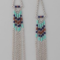 Adia Kibur Long Chain  Beaded Earrings