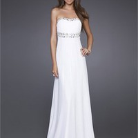 Strapless sheath empire white Prom Dress PD1430