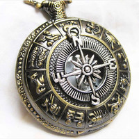 Zodiac compass Pocket Watch great Necklace Big by qizhouhuang