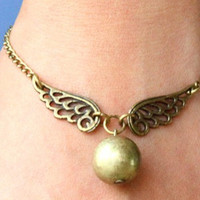 Steampunk Enchanted Golden Snitch wings bracelet by qizhouhuang