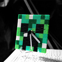 Minecraft Clock. Creeper Desk/ Wall Clock Handmade Display Stand Included