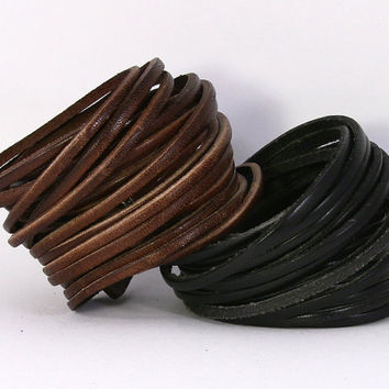 Multi strand wrap leather bracelet. Multi strand wrap leather cuff. Wrap leather bracelet. Snap closure strand leather bracelet. B001