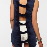 Sparkle &amp; Fade Acid Wash Ladder-Back Tank Top