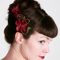 Calista Burgundy Floral Hair Clip by sweetlittlesparrow on Etsy