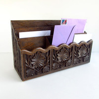 Vintage Mail Organizer Brown Plastic Box Faux by ItchforKitsch