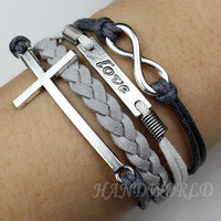Silvery Love Bracelet,Cross Bracelet, Infinity Karma Bracelet, Wish Bracelet,Bangle Cuff Bracelet Gift -N1034