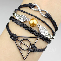 Silvery Infinity, Harry Potter Snitch &amp; Deathly Hallows Charm Bracelet,Friendship Gift,Personalized Bracelet-N1025
