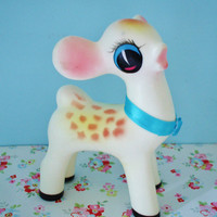 Vintage Rubber Squeak Toy-Deer-Fawn-1960S-Kitsch-Kawaii-Cute-Mint-Pre Blythe-Woodland doll era