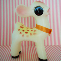 Vintage Rubber Squeak Toy-Deer-Fawn-1960S-Kitsch-Kawaii-Cute-Mint-Pre Blythe