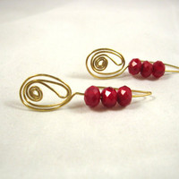 Three bead gold and red wire wrapped earrings