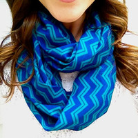 Teal and Cobalt Chevron/ Zig Zag Infinity Scarf