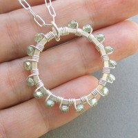 Pale Wreath Necklace faceted Czech glass and by PianoBenchDesigns