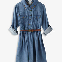 Studded Chambray Shirtdress