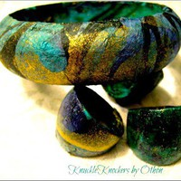 Teal and Gold KnuckleKnocker Bangles by Othon