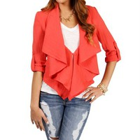 Coral Ruffle Jacket