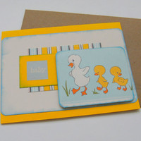 Handmade Card Baby Twins with Ducks