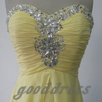 Sexy Sweetheart Crystal Sequins Ruched Yellow Floor Length Formal Long Evening/Prom/Party/Bridesmaid/Homecoming Dress