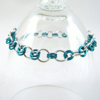 Chainmail Bracelet Ice Blue and Bright Aluminum