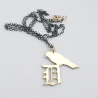 D for Damon Salvatore Initial Necklace Vampire by bLuGrnDesign