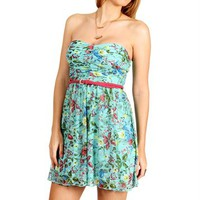 Mint/Pink Floral Belted Short Dress