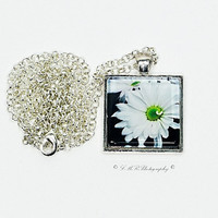 Photo Pendant Necklace, White Daisy Pendant Necklace, Glass Tile Pendant Necklace, Photo Jewelry