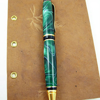 Cigar Style Pen Green, White and Black Colors