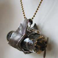 The Steampunk SciFi Necklace The Bat Airship by steamheat on Etsy