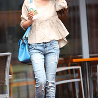 Casual Linen Blouse Three quarter Sleeve Round Neck Shirt in Cream - NC348