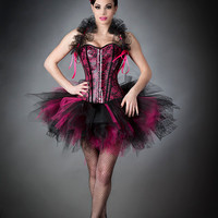Size Small Hot Pink and Black leather pvc Burlesque tutu Corset Prom Dress with Bolero Ready to Ship