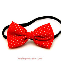 Headband with Red and White Polka Dots Bow by AtelierYumi on Etsy