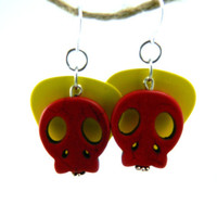 Dangle Wire Yellow Guitar Pic and Red Dyed by TheCraftyPandaGirl