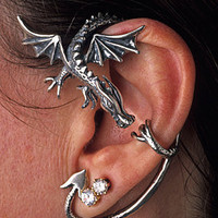 Silver Dragon Guardian Ear Wrap by martymagic on Etsy