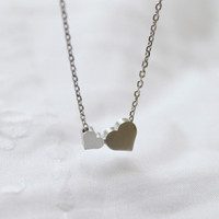 Cute Two Heart charm Necklace  S22211 by Ringostone on Etsy