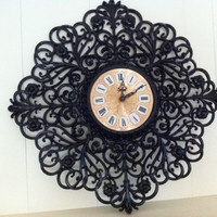 Black Vintage Clock, Home Decor, Salon or Restaurant Decor, Funky Vintage, Painted, Upcycled, Hollywood Regency