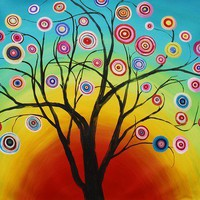 FANCY CIRCLES WITH SUNRISE TREES, abstract painting 38x32