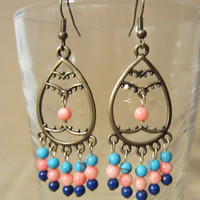 Turquoise, Pink Coral & Lapis Bronze Chandelier Earrings