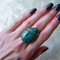 Copper Turquoise Ring by VictoryJewelry
