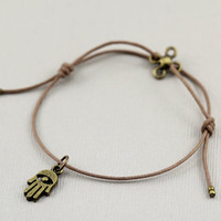 Hamsa Hand Bracelet Bohemian Antique Bronze Adjustable Cotton Cord Bracelet with Hamsa Hand Charm Accent, Zen, Yoga, Relaxation